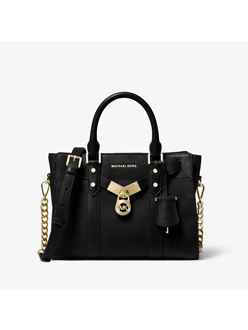 MICHAEL Michael Kors Nouveau Hamilton Small Pebbled Leather Satchel Black