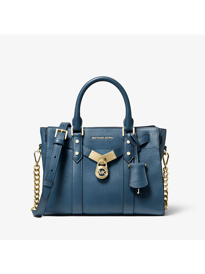 MICHAEL Michael Kors Nouveau Hamilton Small Pebbled Leather Satchel Blue
