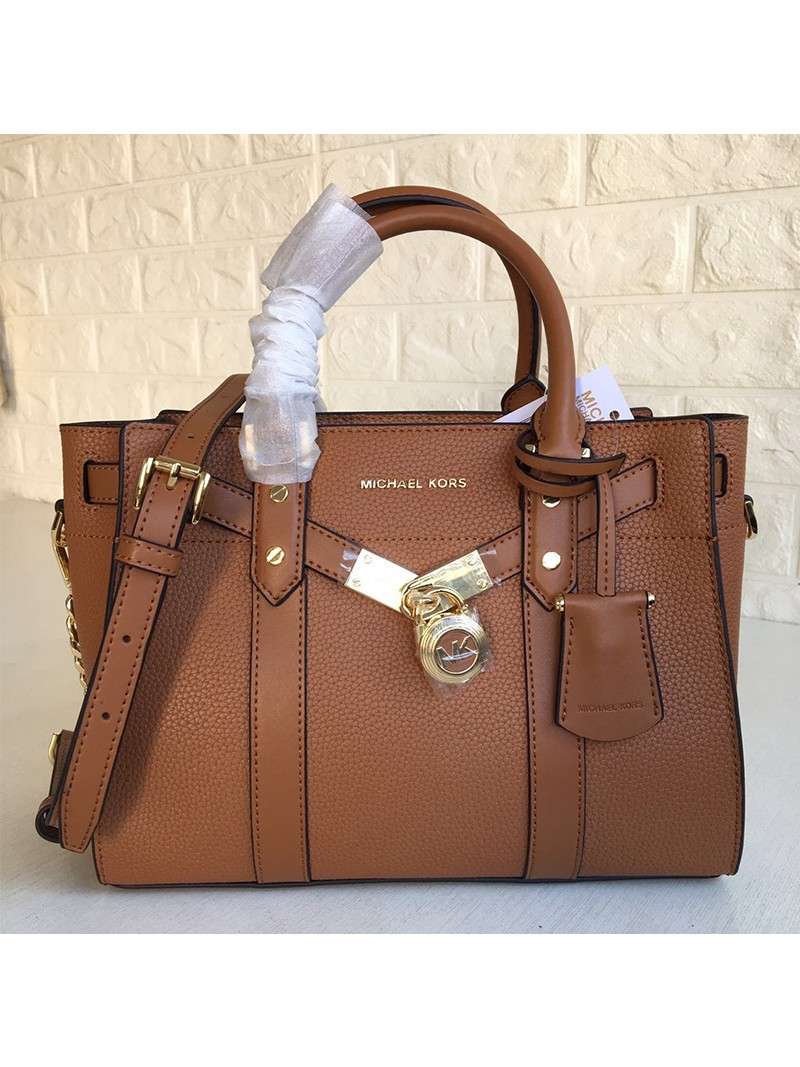 MICHAEL Michael Kors Nouveau Hamilton Small Pebbled Leather Satchel Brown