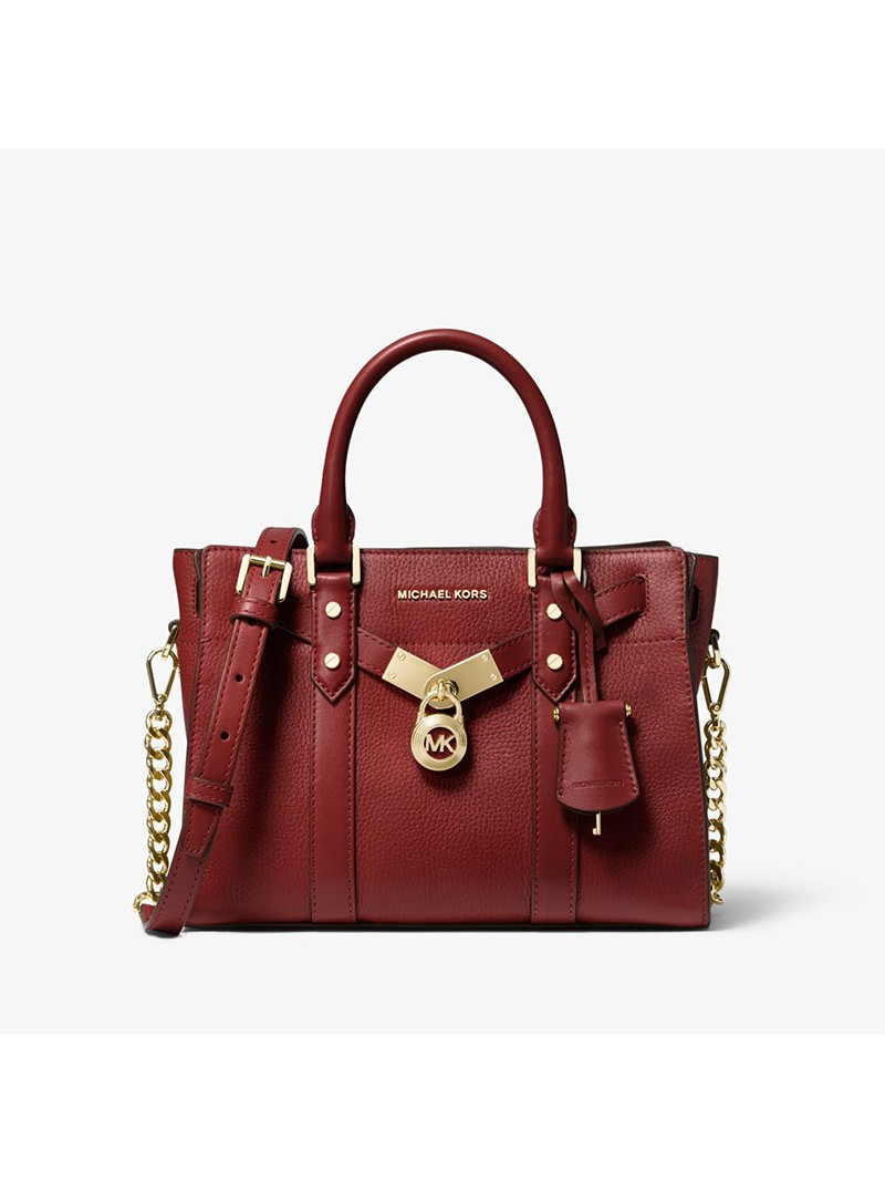 MICHAEL Michael Kors Nouveau Hamilton Small Pebbled Leather Satchel Burgundy