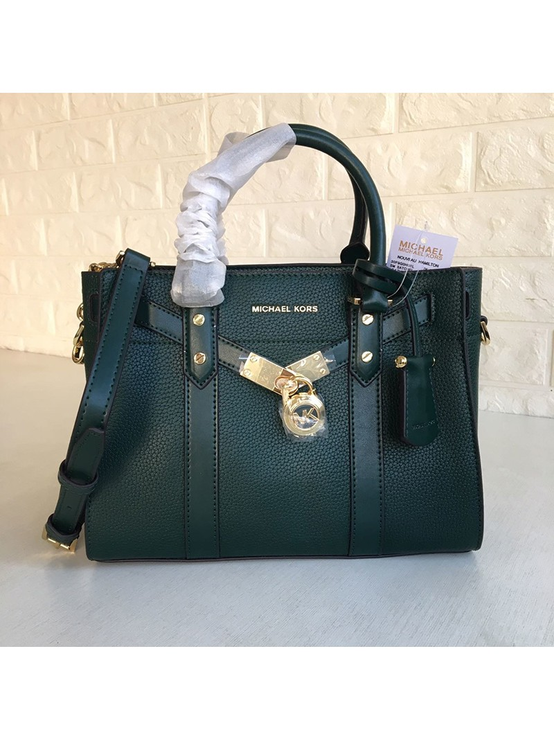 MICHAEL Michael Kors Nouveau Hamilton Small Pebbled Leather Satchel Green