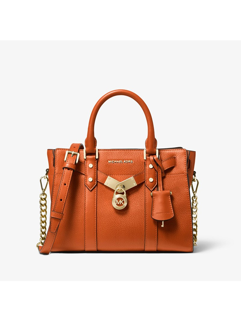 MICHAEL Michael Kors Nouveau Hamilton Small Pebbled Leather Satchel Orange