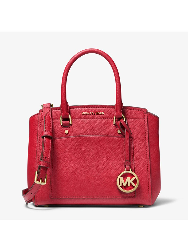 MICHAEL Michael Kors Park Medium Saffiano Leather Satchel Red