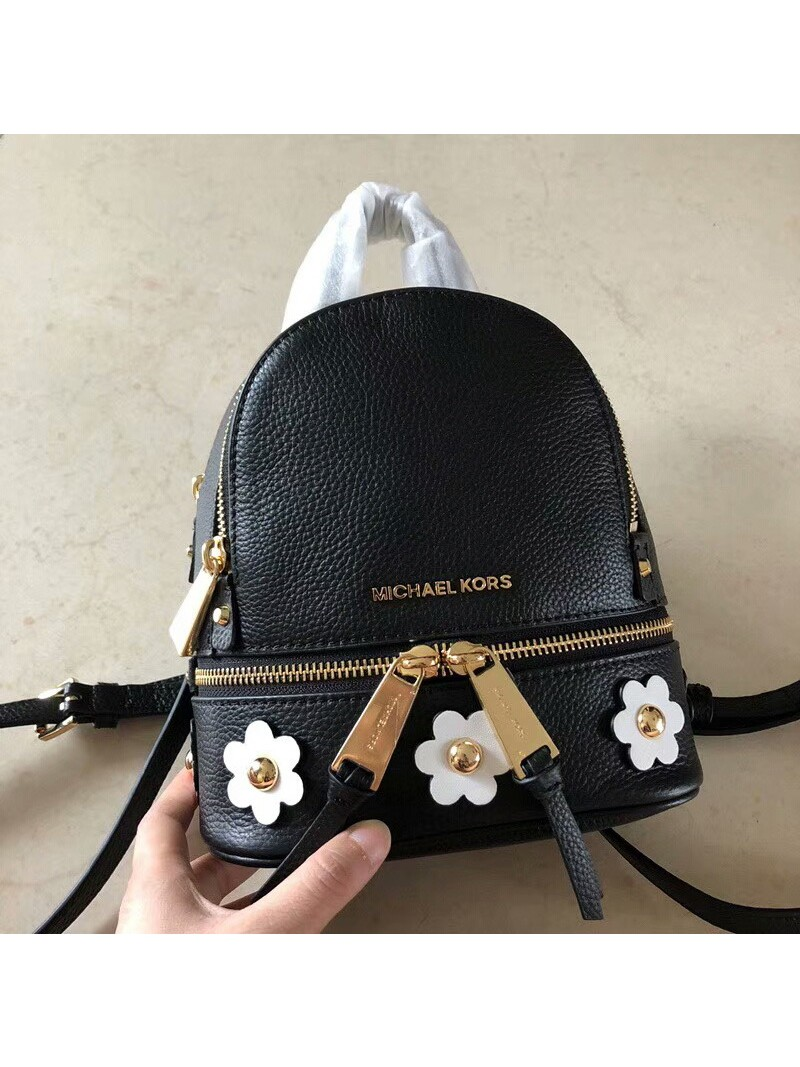 MICHAEL Michael Kors Rhea Mini Floral Applique Leather Backpack Black
