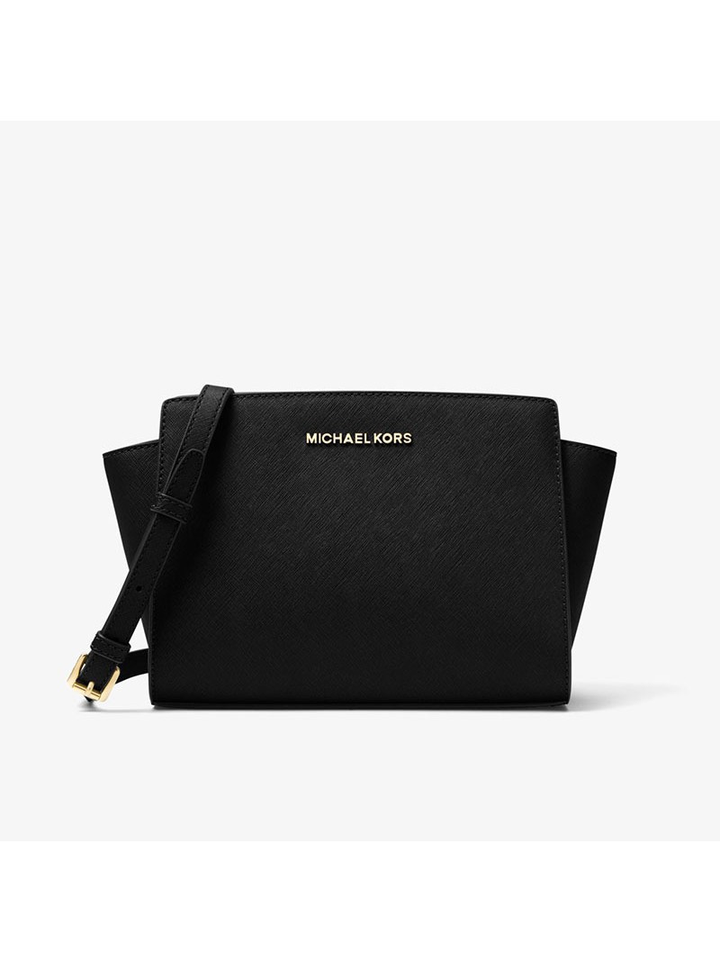 MICHAEL Michael Kors Selma Medium Saffiano Leather Messenger Black