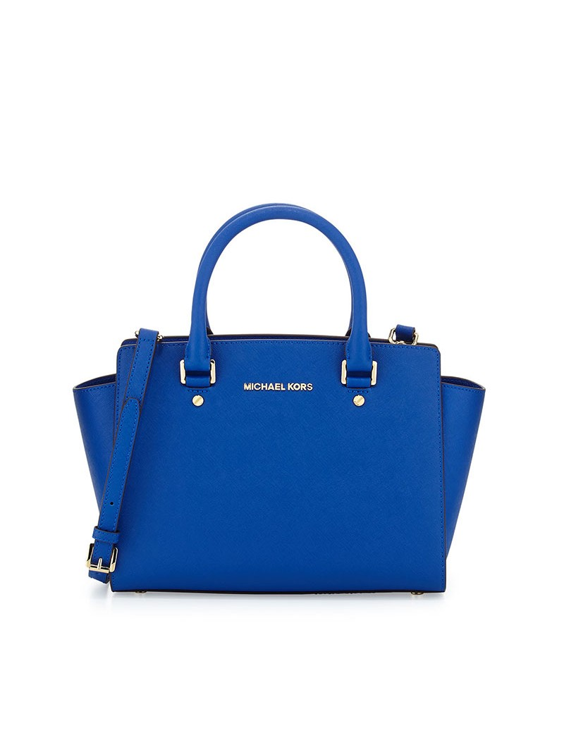 MICHAEL Michael Kors Selma Saffiano Leather Satchel Blue