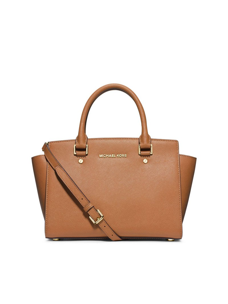 MICHAEL Michael Kors Selma Saffiano Leather Satchel Brown