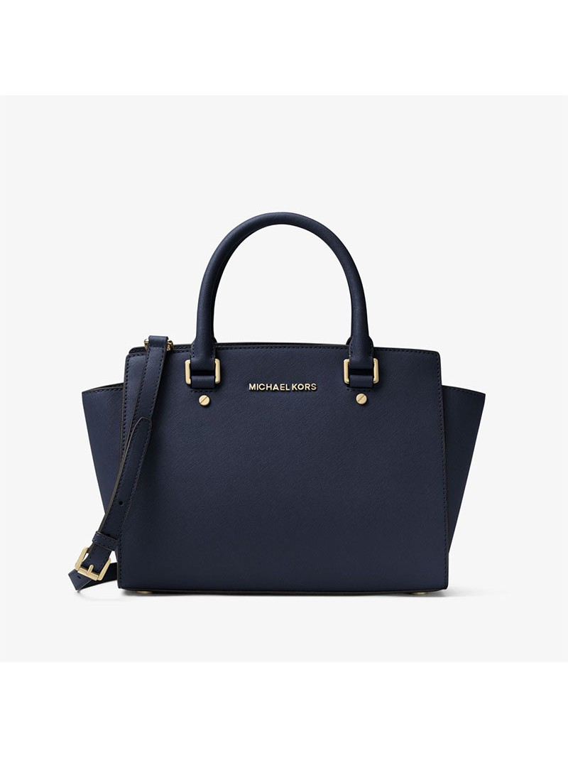MICHAEL Michael Kors Selma Saffiano Leather Satchel Navy Blue