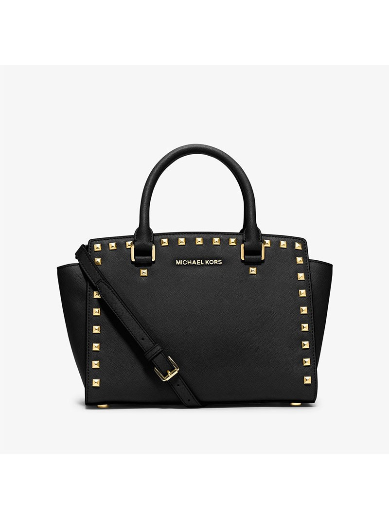 MICHAEL Michael Kors Selma Studded Saffiano Leather Satchel Black