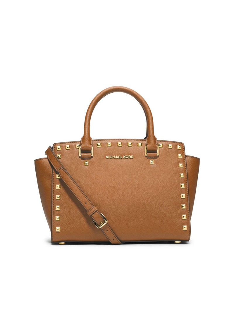 MICHAEL Michael Kors Selma Studded Saffiano Leather Satchel Brown