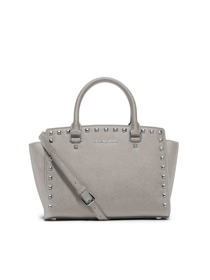 MICHAEL Michael Kors Selma Studded Saffiano Leather Satchel Grey