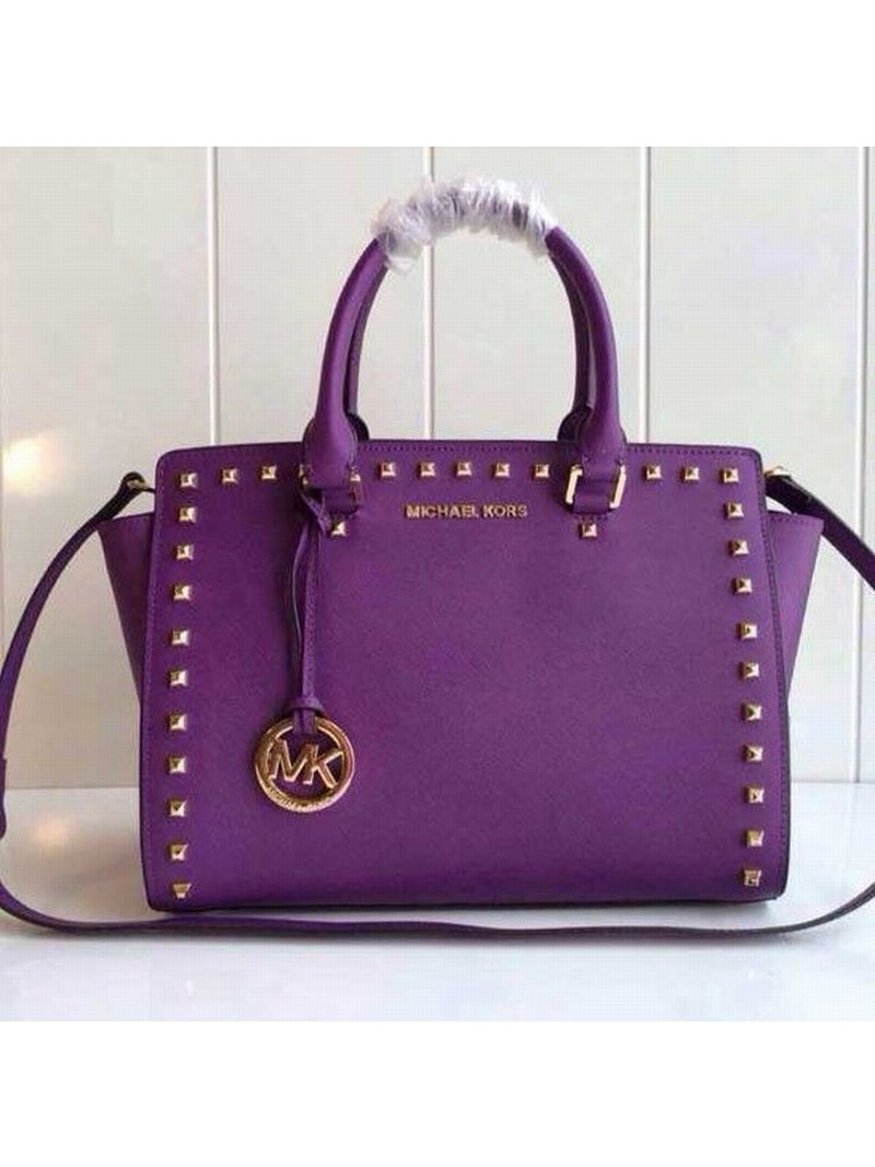 MICHAEL Michael Kors Selma Studded Saffiano Leather Satchel Purple