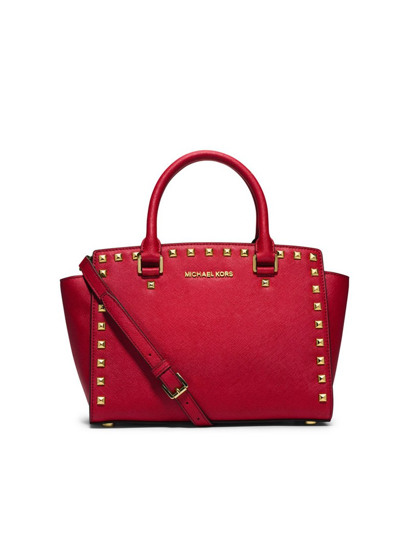 MICHAEL Michael Kors Selma Studded Saffiano Leather Satchel Red