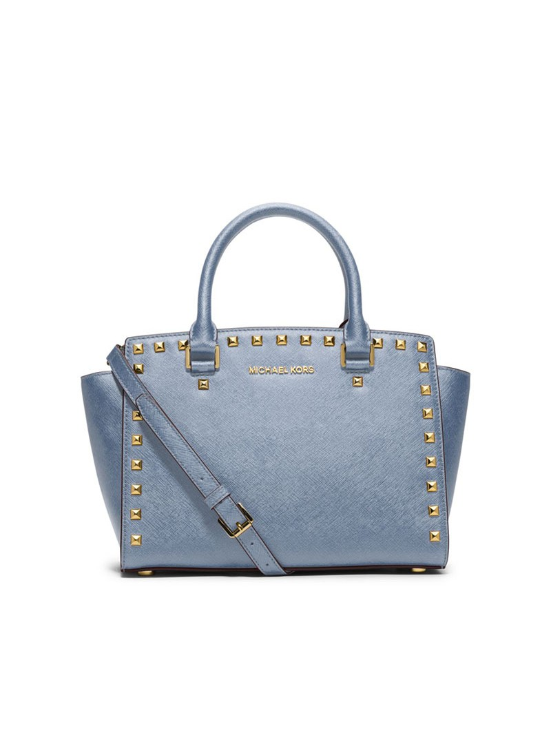 MICHAEL Michael Kors Selma Studded Saffiano Leather Satchel Sky Blue