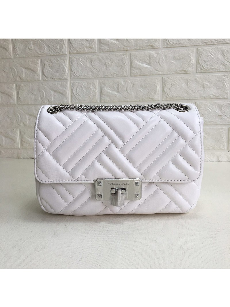 MICHAEL Michael Kors Sloan Large Quilted-Leather Shoulder Bag White
