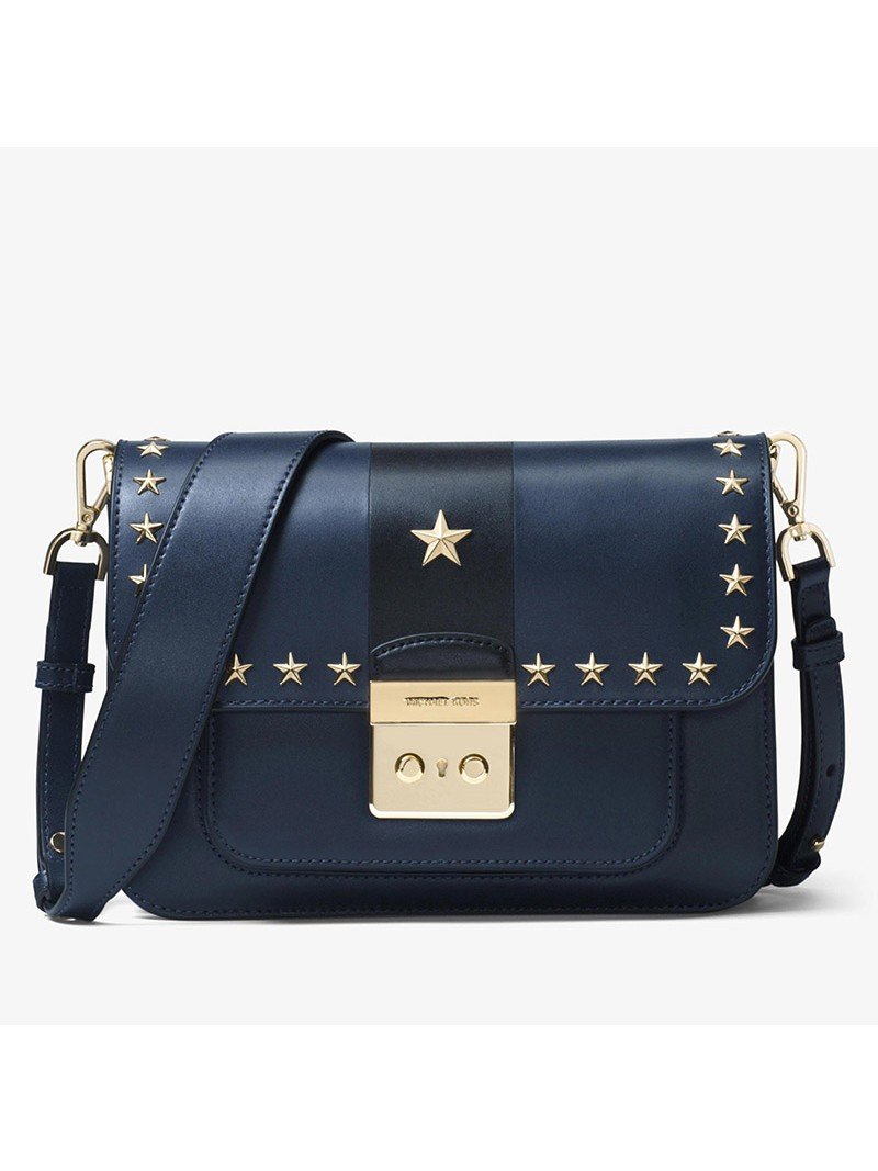 MICHAEL Michael Kors Sloan Editor Star Studded Leather Shoulder Bag Navy Blue/Black