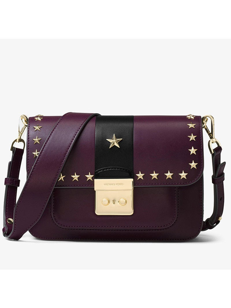 MICHAEL Michael Kors Sloan Editor Star Studded Leather Shoulder Bag Purple/Black