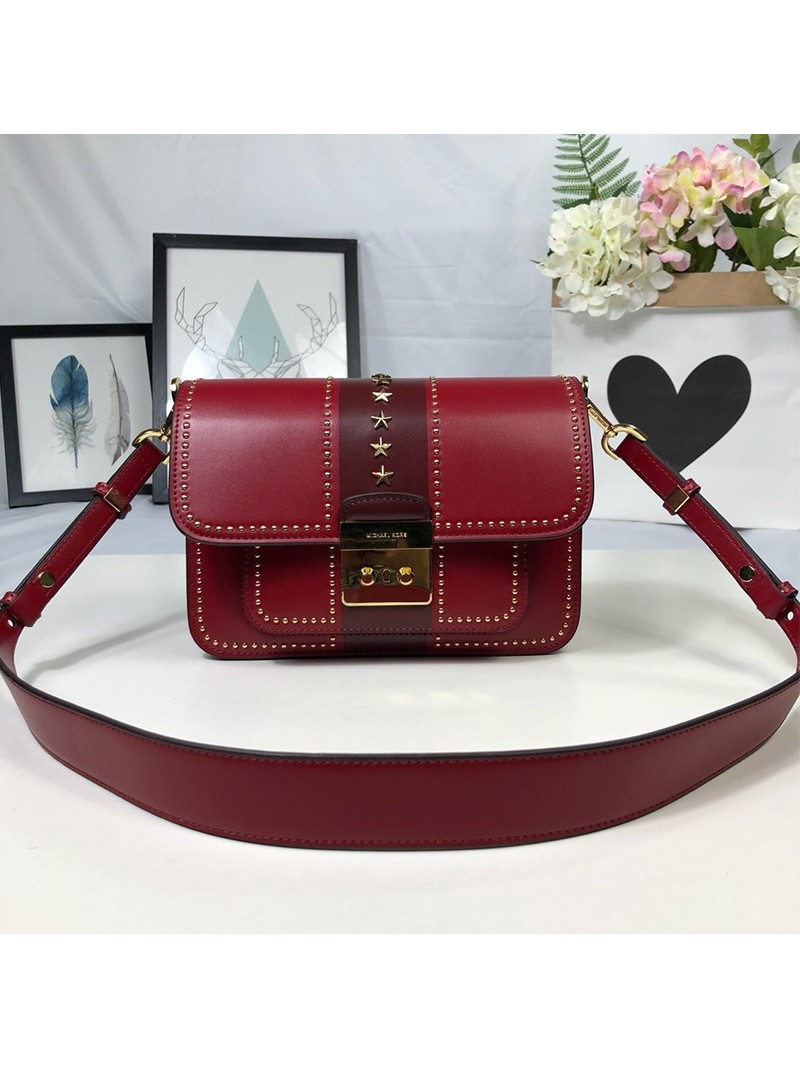 MICHAEL Michael Kors Sloan Editor Studded Leather Shoulder Bag Burgundy