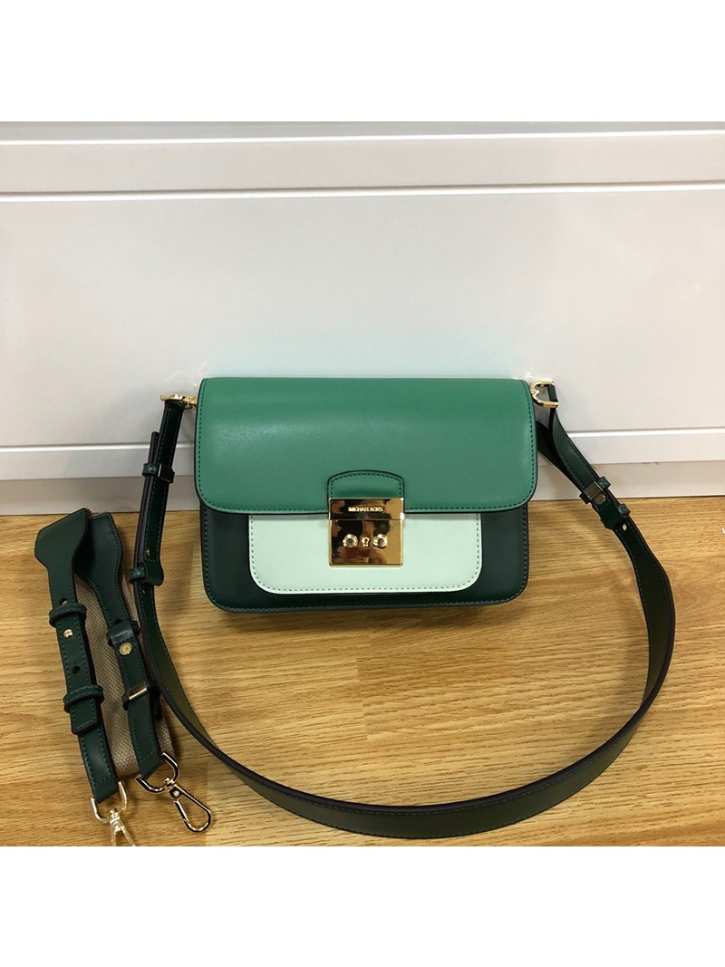 MICHAEL Michael Kors Sloan Editor Color-Block Leather Shoulder Bag Darck Green /Mint Green