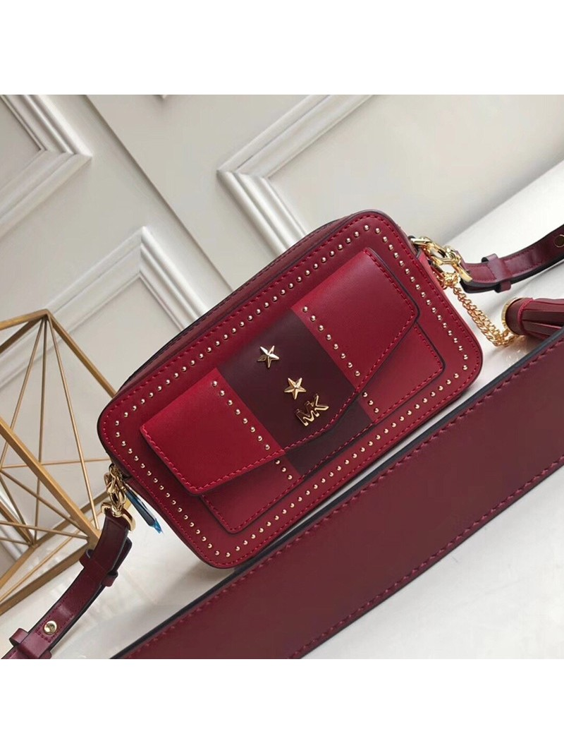 MICHAEL Michael Kors Jet Set Small Leather Camera Bag Burgundy
