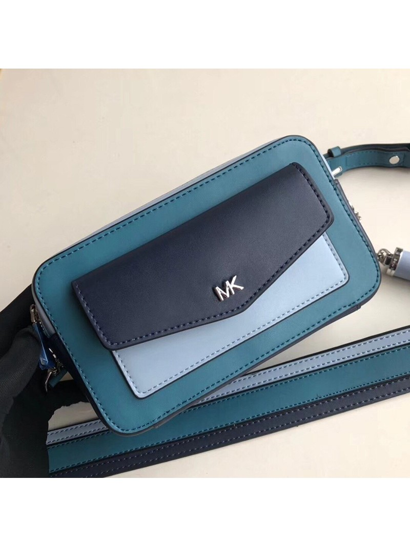 MICHAEL Michael Kors Jet Set Small Tri-Color Leather Camera Bag Blue