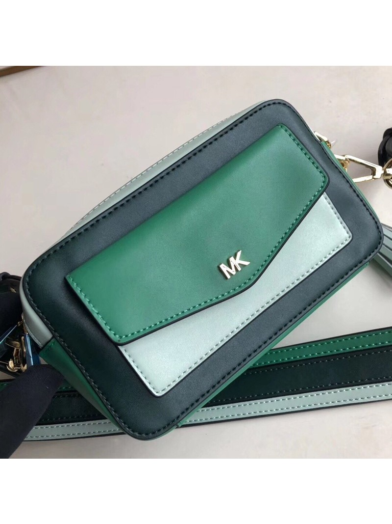 MICHAEL Michael Kors Jet Set Small Tri-Color Leather Camera Bag Green