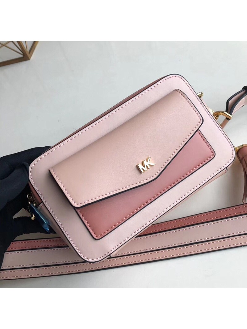 MICHAEL Michael Kors Jet Set Small Tri-Color Leather Camera Bag Pink