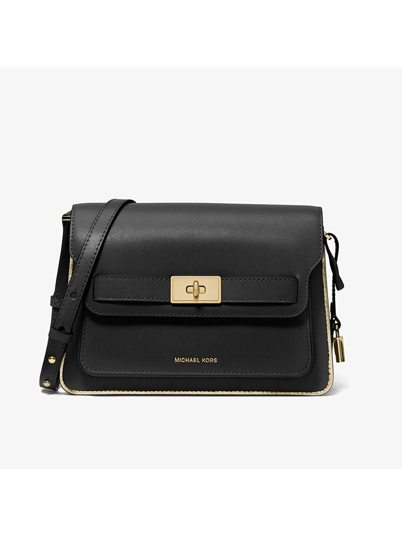MICHAEL Michael Kors Tatiana Leather Accordion Crossbody Bag Black