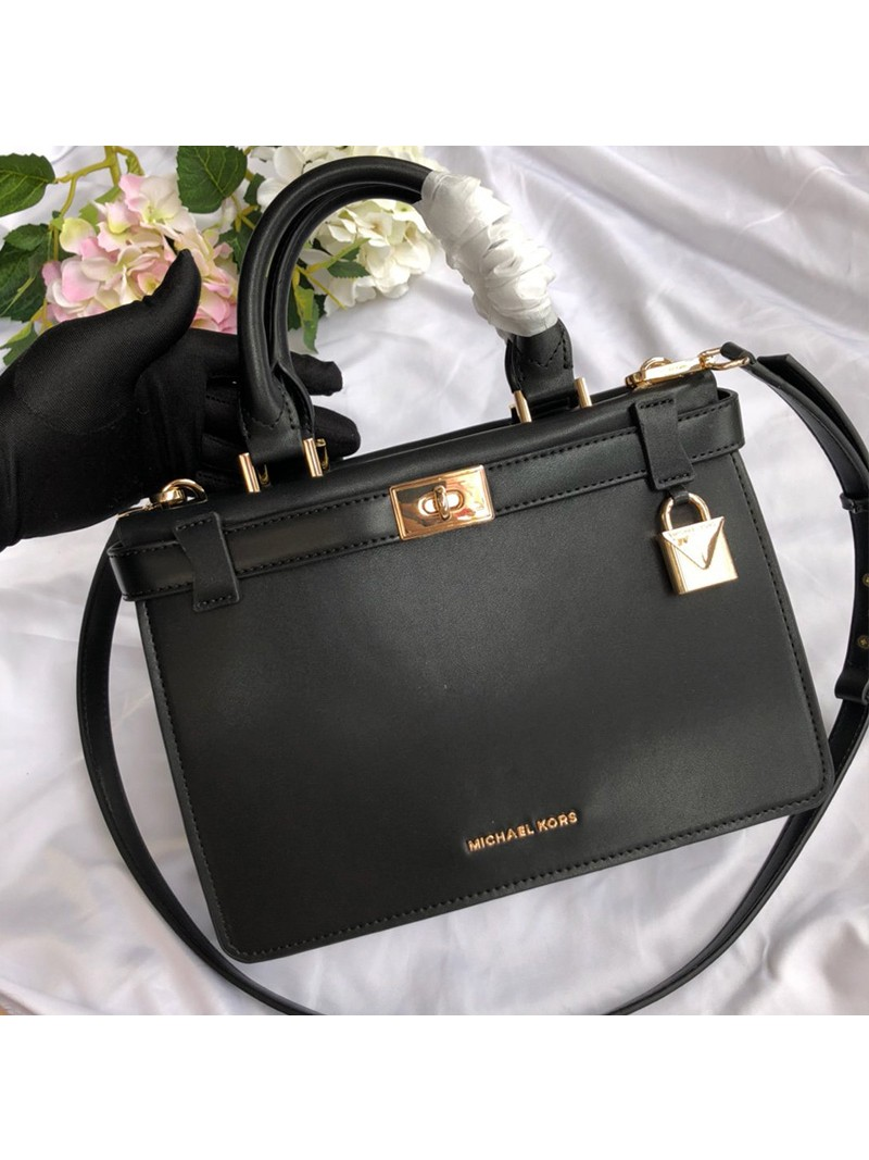 MICHAEL Michael Kors Tatiana Small Leather Satchel Black