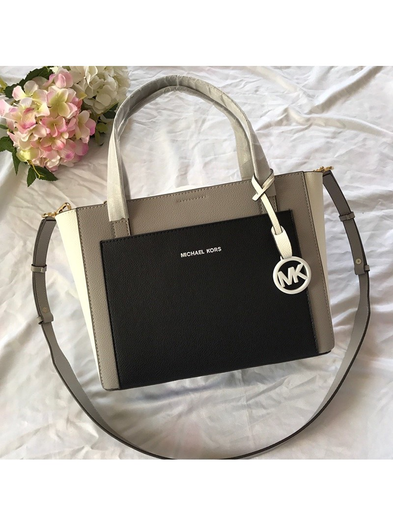 MICHAEL Michael Kors Gemma Two-Tone Pebbled Leather Pocket Crossbody Bag Black/Grey