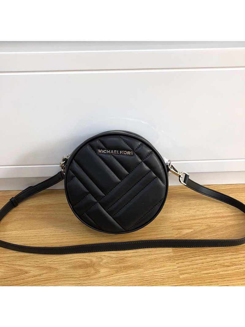 MICHAEL Michael Kors Vivianne Canteen Quilted Leather CrossBody Bag Black