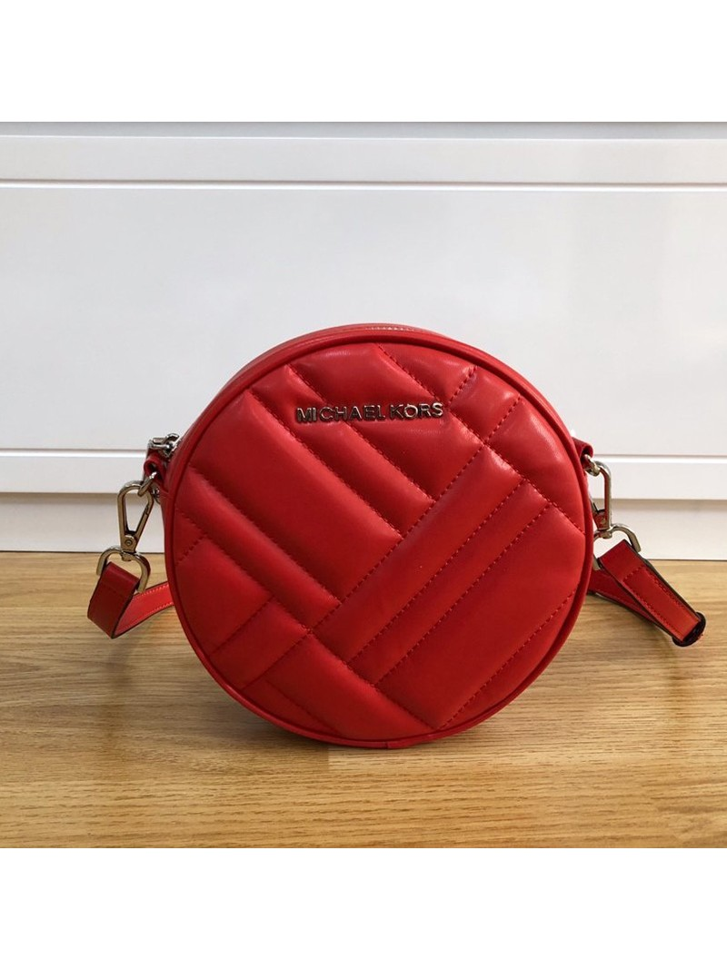 MICHAEL Michael Kors Vivianne Canteen Quilted Leather CrossBody Bag Red