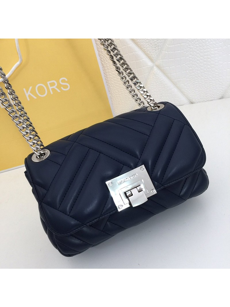 MICHAEL Michael Kors Vivianne Medium Quilted Leather Shoulder Bag Navy Blue