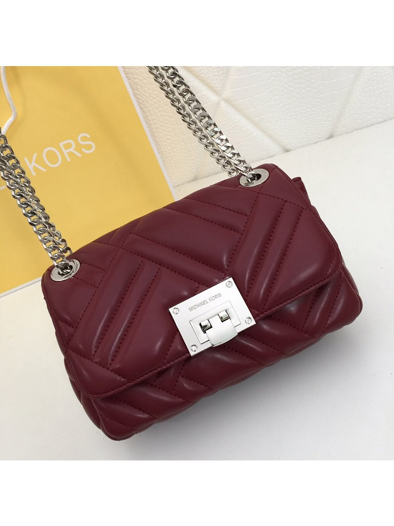 MICHAEL Michael Kors Vivianne Medium Quilted Leather Shoulder Bag Burgundy