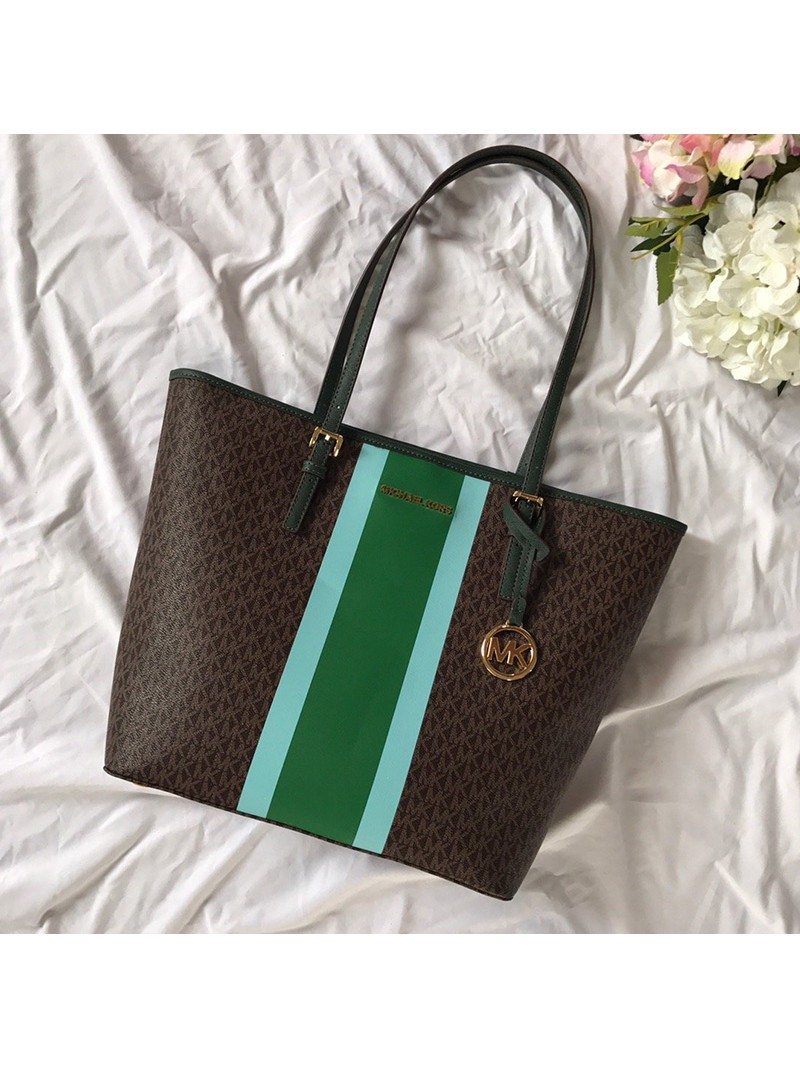 MICHAEL Michael Kors Voyager Large Logo Stripe Tote Brown