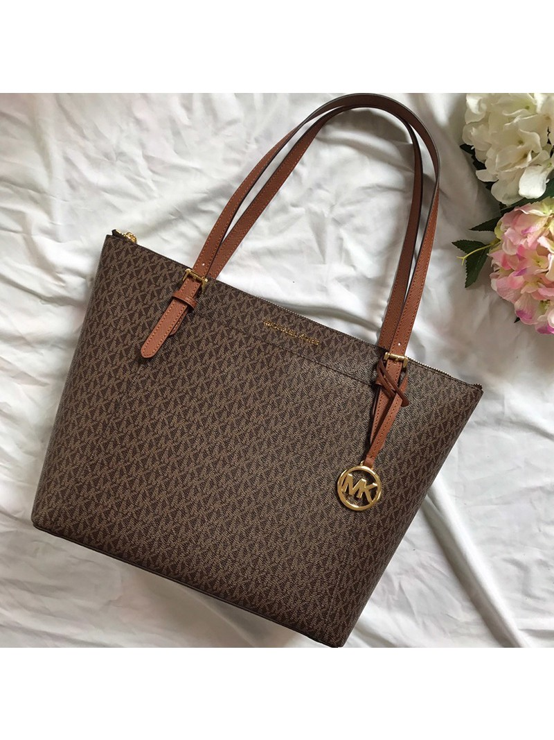 MICHAEL Michael Kors Voyager Large Logo Top-Zip Tote Brown