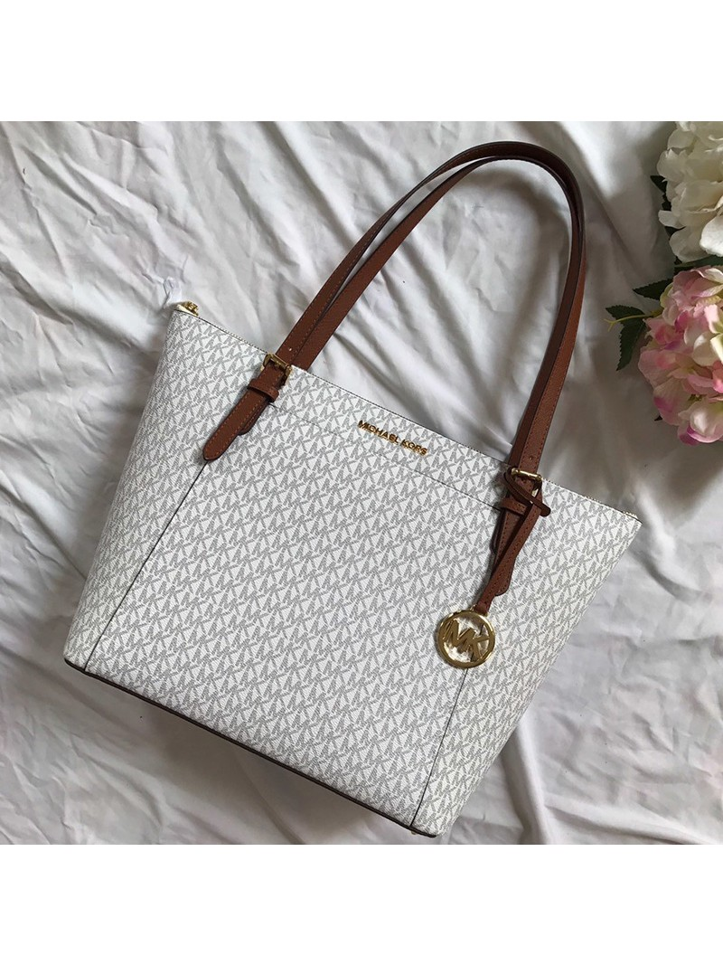 MICHAEL Michael Kors Voyager Large Logo Top-Zip Tote White