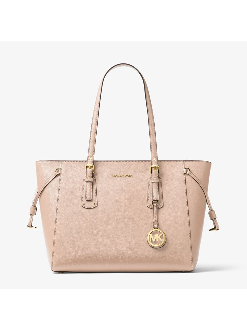 MICHAEL Michael Kors Voyager Medium Crossgrain Leather Tote Pink
