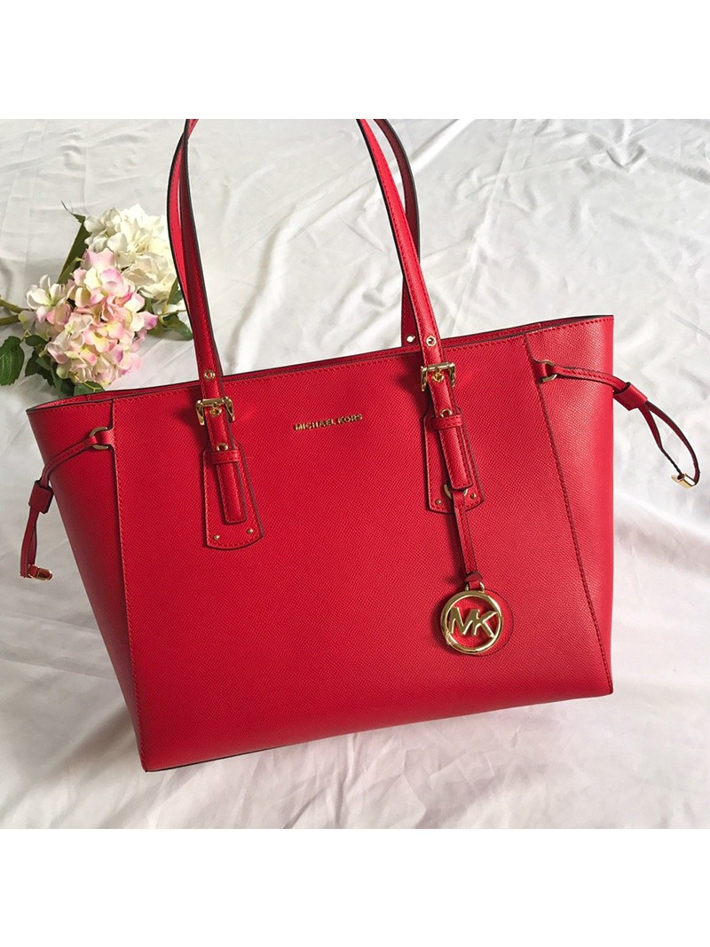 MICHAEL Michael Kors Voyager Medium Crossgrain Leather Tote Red