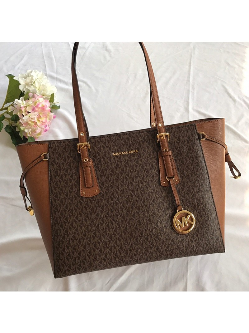MICHAEL Michael Kors Voyager Medium Logo Tote Brown