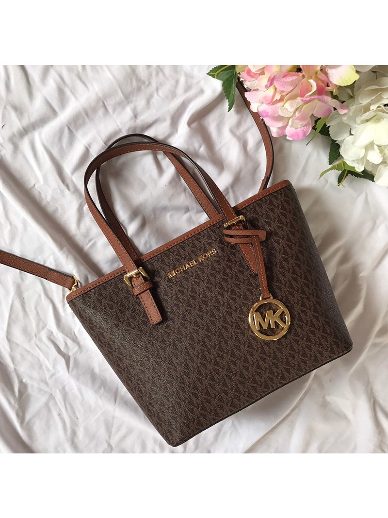 MICHAEL Michael Kors Voyager Mini Logo Top-Zip Tote Brown