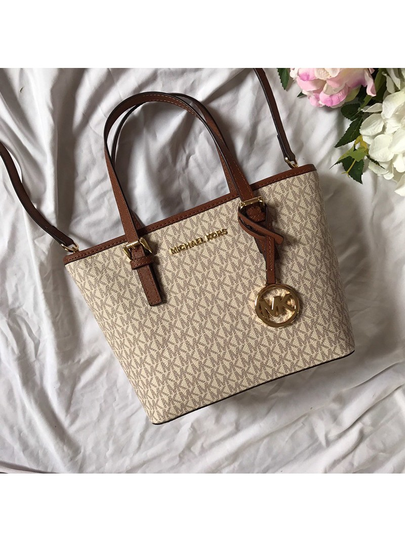 MICHAEL Michael Kors Voyager Mini Logo Top-Zip Tote White