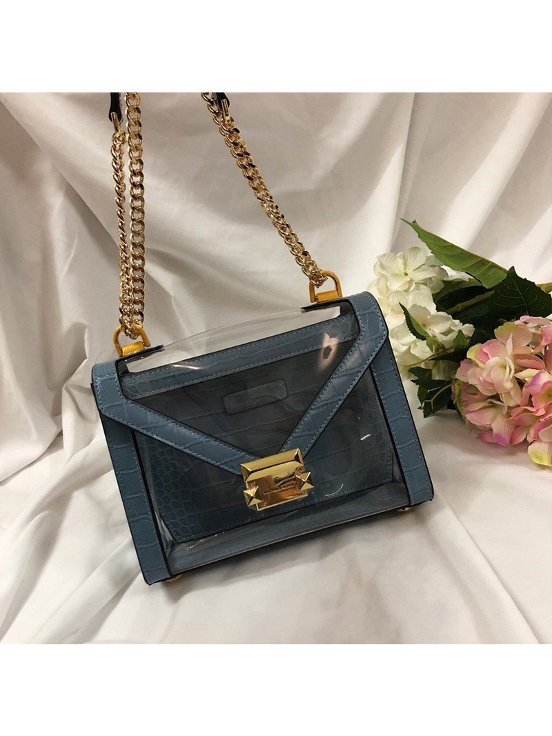 MICHAEL Michael Kors Whitney Large Clear and Leather Convertible Shoulder Bag Blue