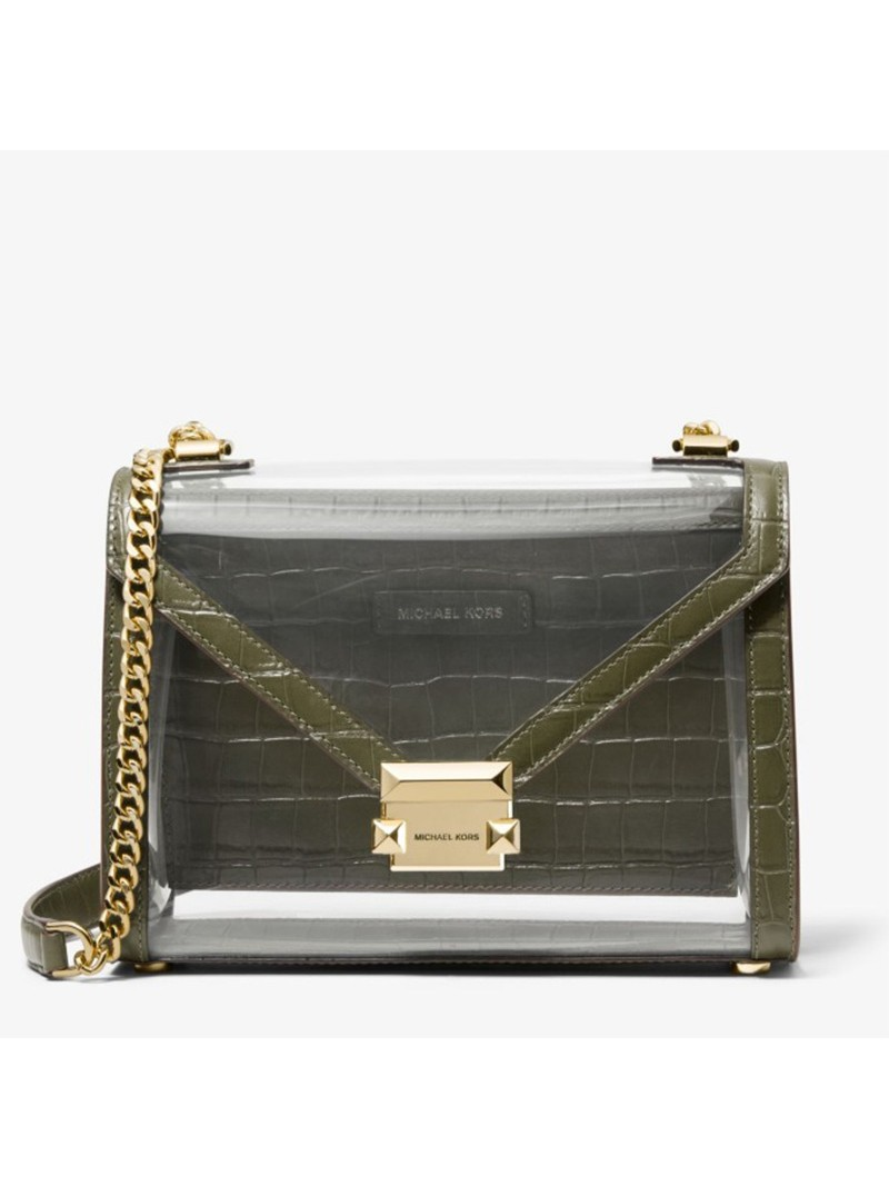 MICHAEL Michael Kors Whitney Large Clear and Leather Convertible Shoulder Bag Green