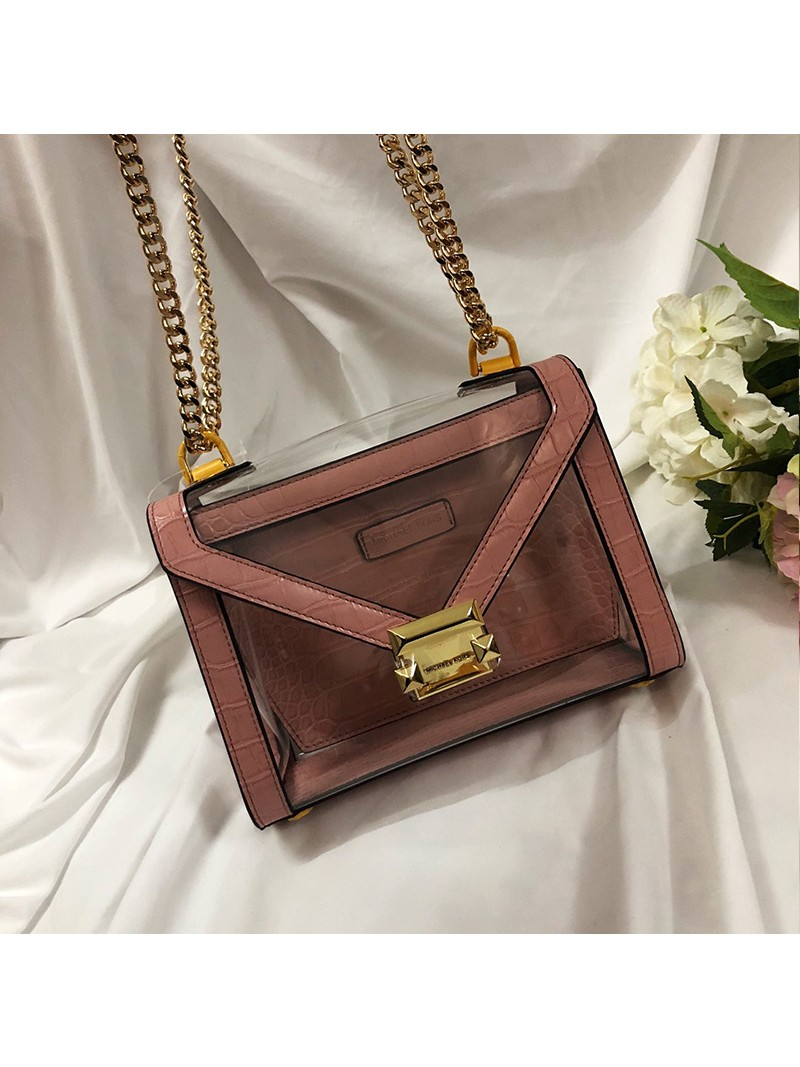 MICHAEL Michael Kors Whitney Large Clear and Leather Convertible Shoulder Bag Pink