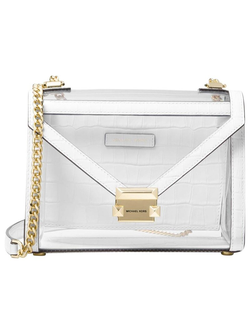 MICHAEL Michael Kors Whitney Large Clear and Leather Convertible Shoulder Bag White