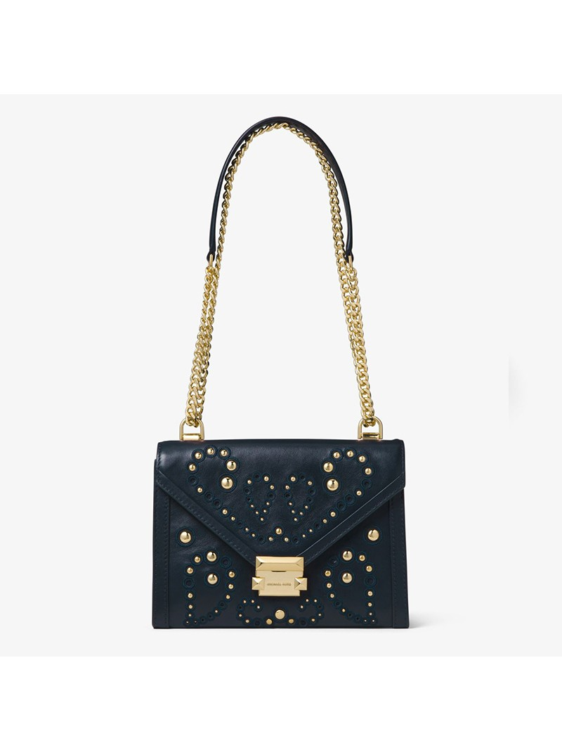 MICHAEL Michael Kors Whitney Large Embellished Leather Convertible Shoulder Bag Navy Blue