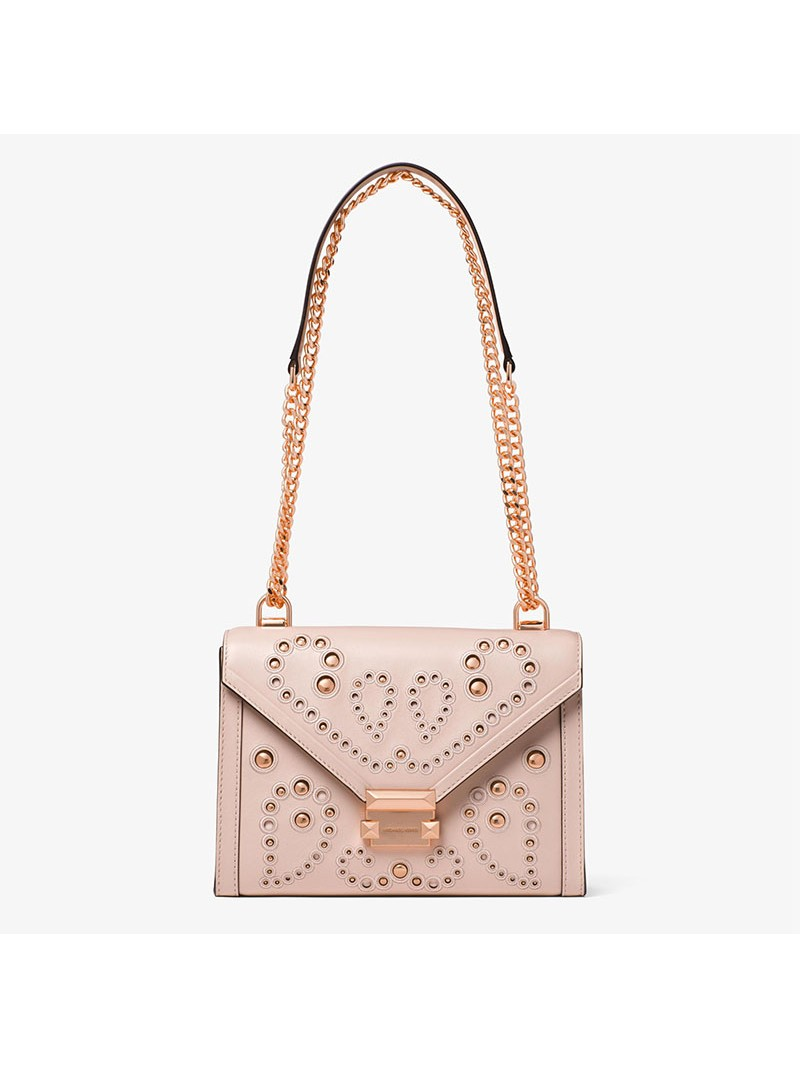 MICHAEL Michael Kors Whitney Large Embellished Leather Convertible Shoulder Bag Pink