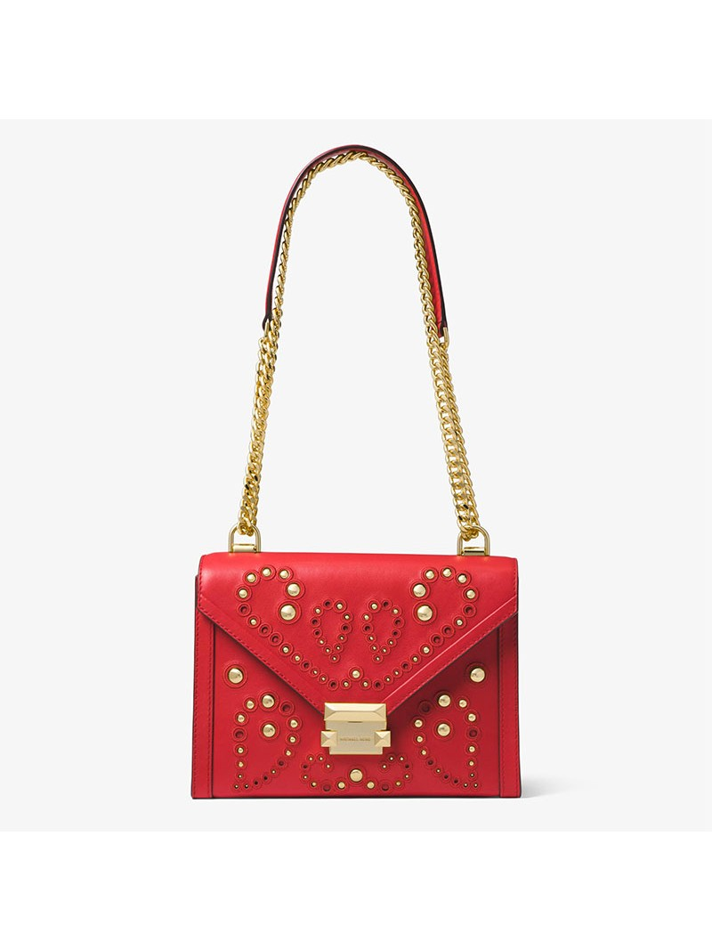MICHAEL Michael Kors Whitney Large Embellished Leather Convertible Shoulder Bag Red
