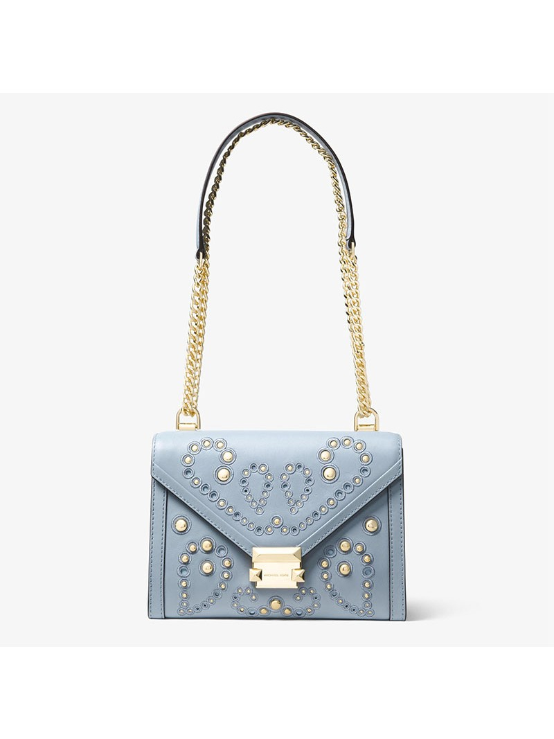 MICHAEL Michael Kors Whitney Large Embellished Leather Convertible Shoulder Bag Sky Blue